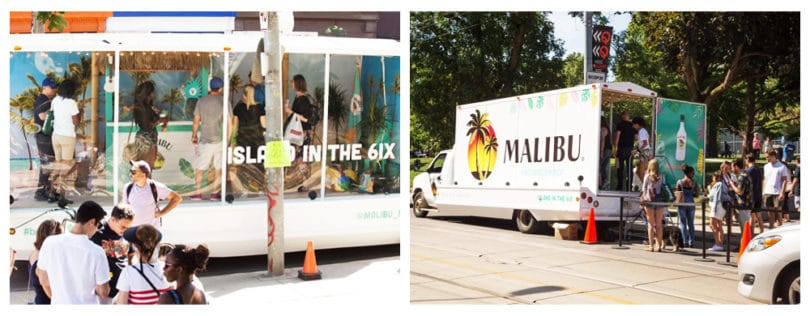 malibu rum mobile vehicle advertising